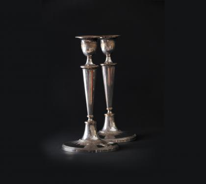 Pair of Sheffield Silver Plated Candlesticks & Pair of Sheffield Silver Plated Candlesticks | hlchalfant.com