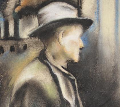"""Pastel on Paper Entitled """"Unemployed"""" by Grace Gemberling Keast (SOLD)"""