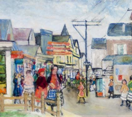 "Oil on Board Entitled ""Noon Street"" by Nancy Maybin Ferguson (SOLD)"