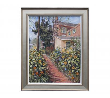 Acyrlic on Panel Entitled&amp;quot; Sidewalk Garden&amp;quot; by John Suplee