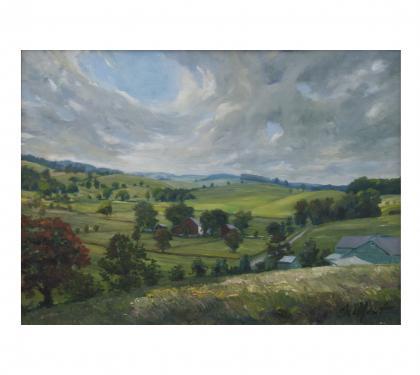 "Oil on Panel Entitled ""Doe Run"" by Richard Chalfant"
