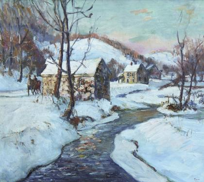 "Oil on Canvas Winter Landscape Entitled ""Mill"" (SOLD)"
