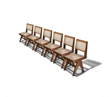 Set of Six Library Side Chairs by Pierre Jeanneret