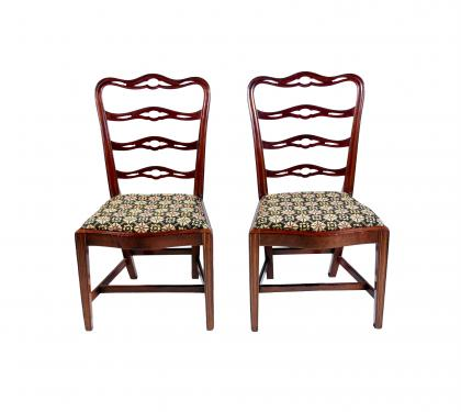 Pair of Important Mahogany Ladderback Sidechairs