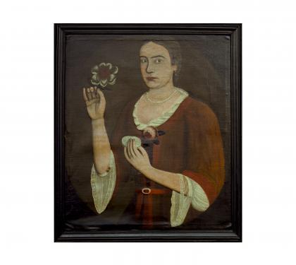 Portrait of Elizabeth Van Dyck Vosburg by Pieter Vanderlyn (The Gansevoort Limner)