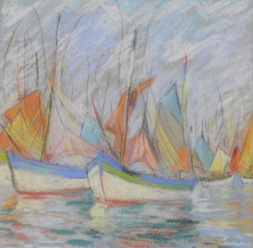 Pastel On Paper Entitled Quot Barques Of Brittany Quot By