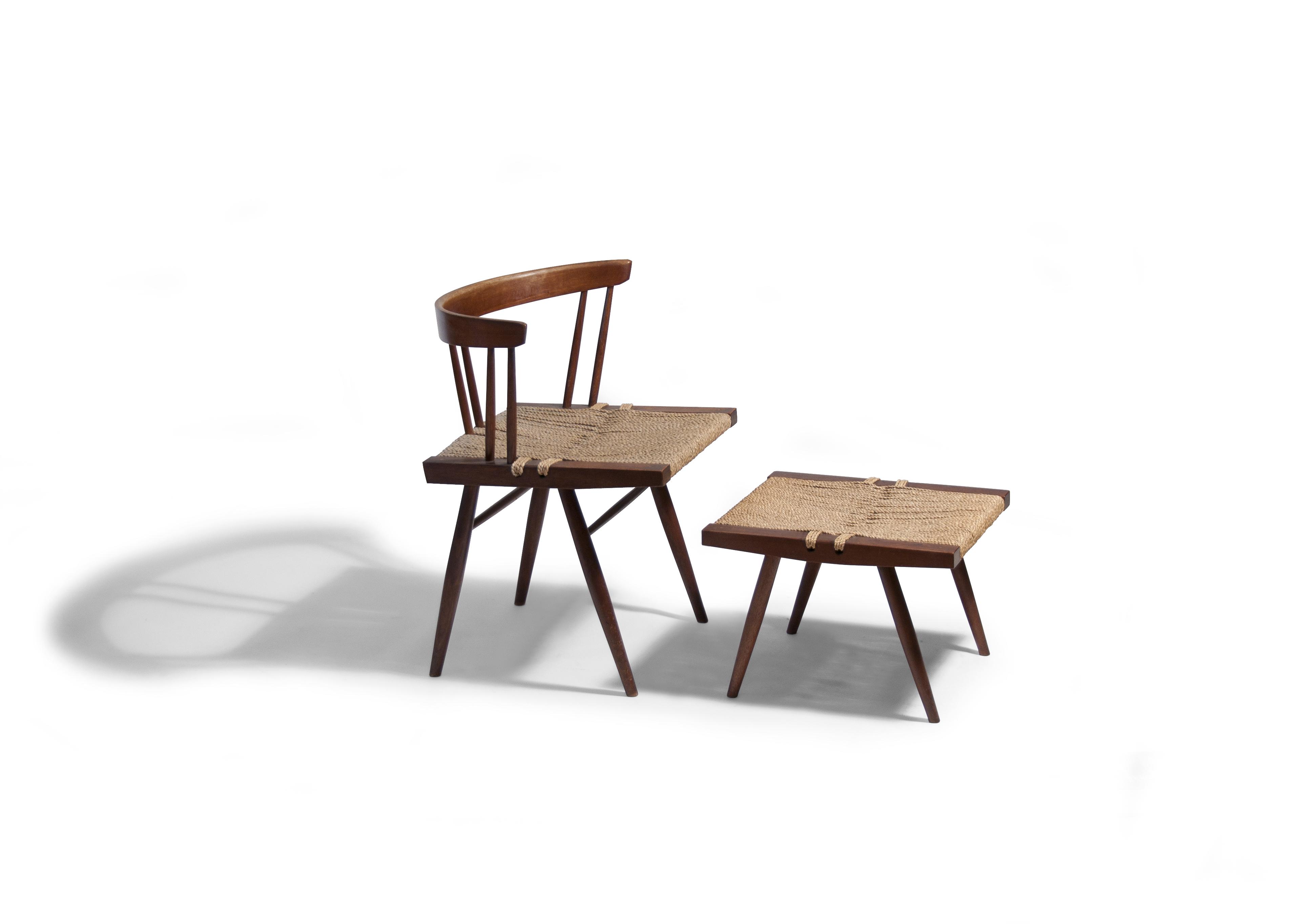 Nakashima Walnut Grass Seated Side Chair With Stool